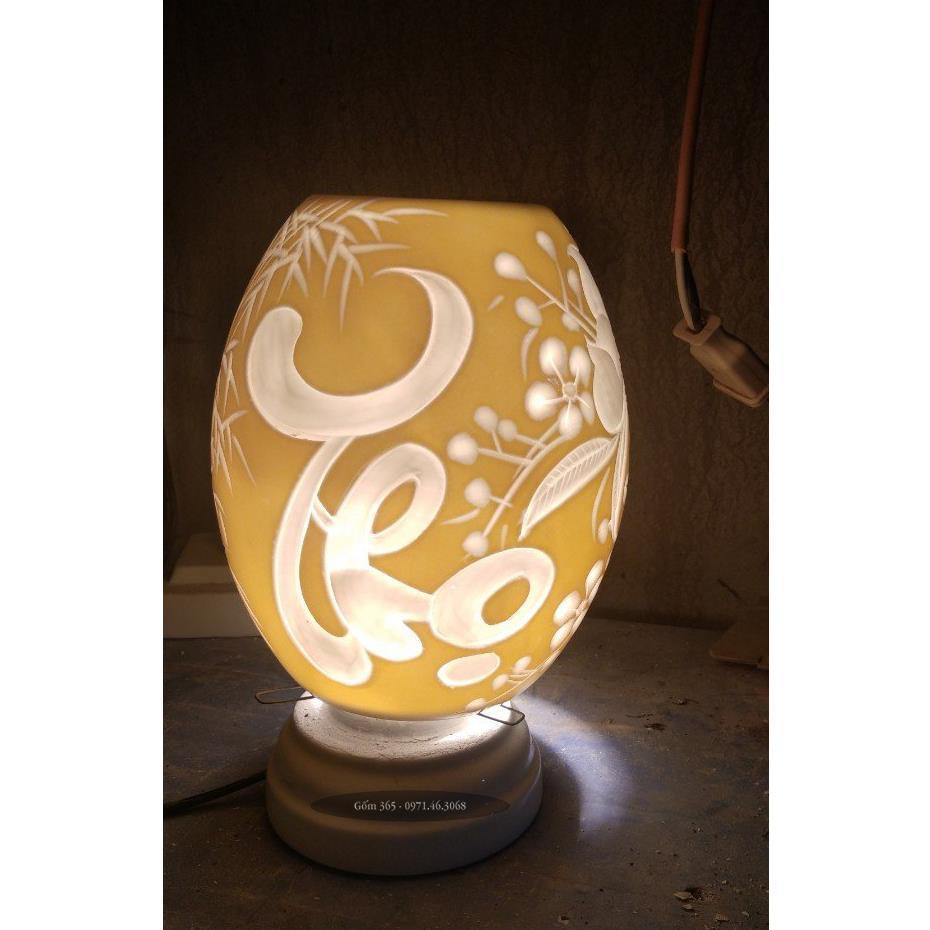 Đèn xông tinh dầu Bát Tràng khắc chữ thọ thư pháp dáng trứng