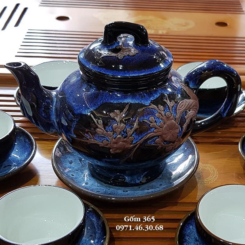 Ấm chén Bát Tràng men hỏa biến - Ấm trà men hỏa biến Thanh Điểu dáng ấm báo xuân