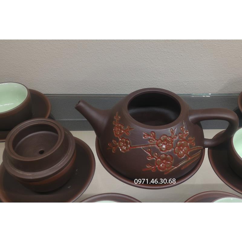 Ấm chén tử sa Bát Tràng ấm trà hoa đào đỏ 160ml