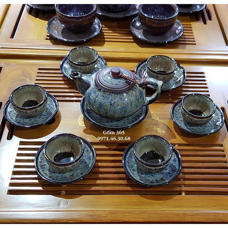 Ấm trà tử sa Bát Tràng men hỏa biến dáng búp sen AC117