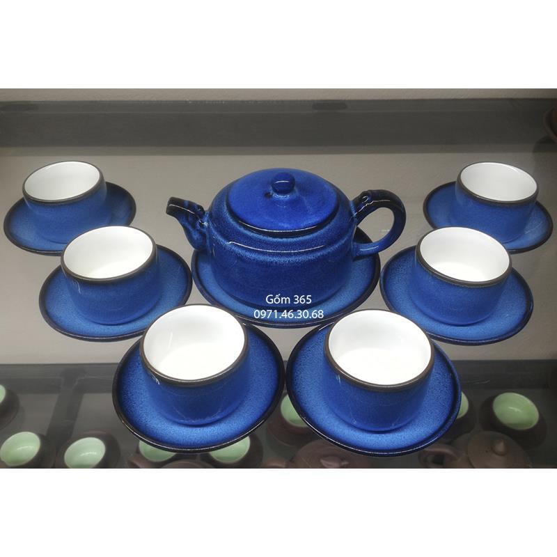 Ấm pha trà men hỏa biến Bát Tràng vai vuông Thiên Thanh