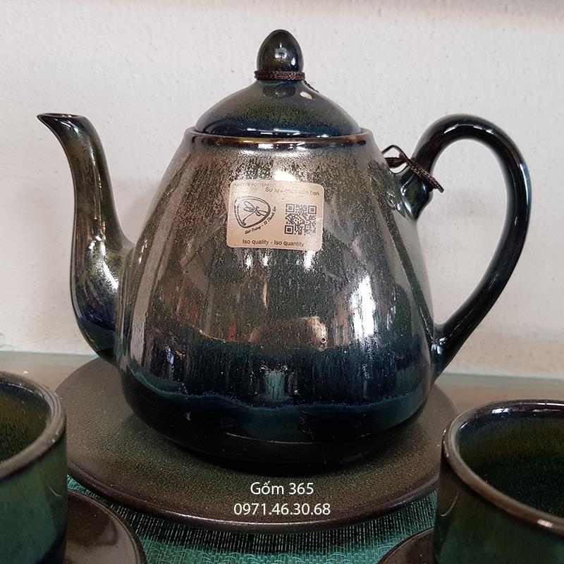 Ấm pha trà men hỏa biến ngọc thỏ dáng quả lê
