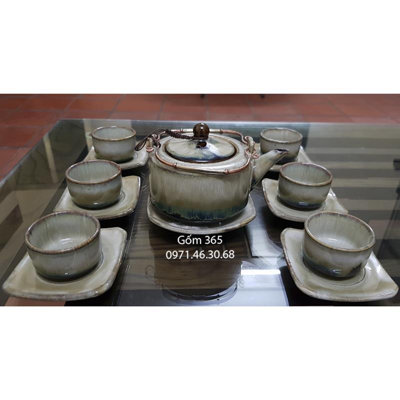 Ấm trà men hỏa biến Bát Tràng bạch trà quai đồng đốt