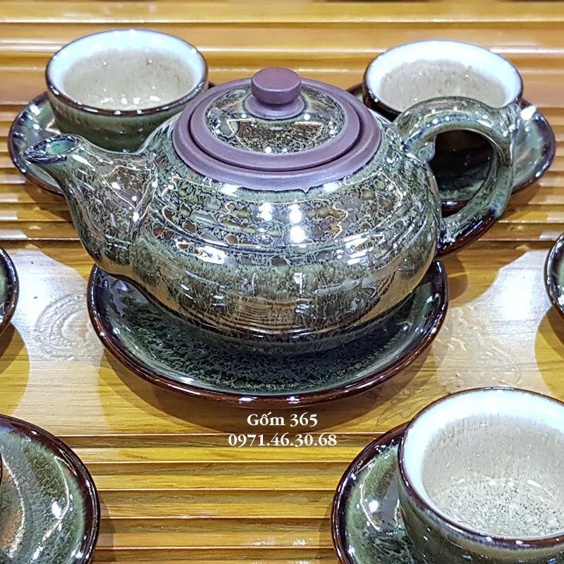 Ấm trà tử sa Bát Tràng men hỏa biến ngọc lục bảo AC109