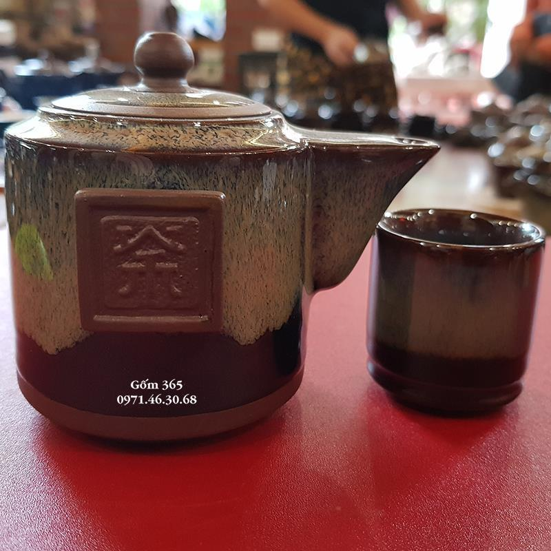 Bộ độc ẩm tử sa Bát Tràng men hỏa biến tai cầm AC122