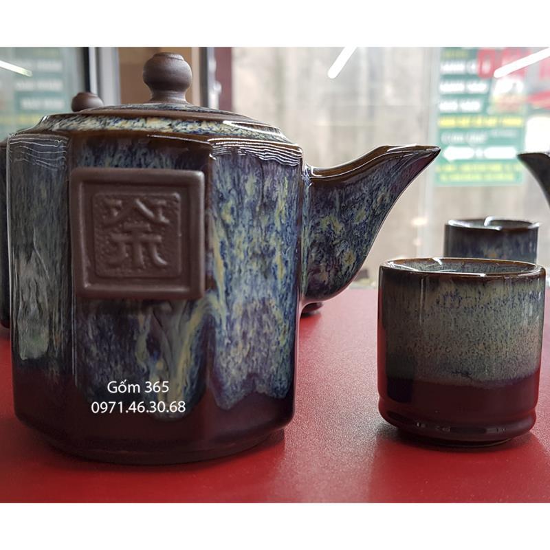 Bộ độc ẩm tử sa Bát Tràng men hỏa biến tai cầm dáng bát giác