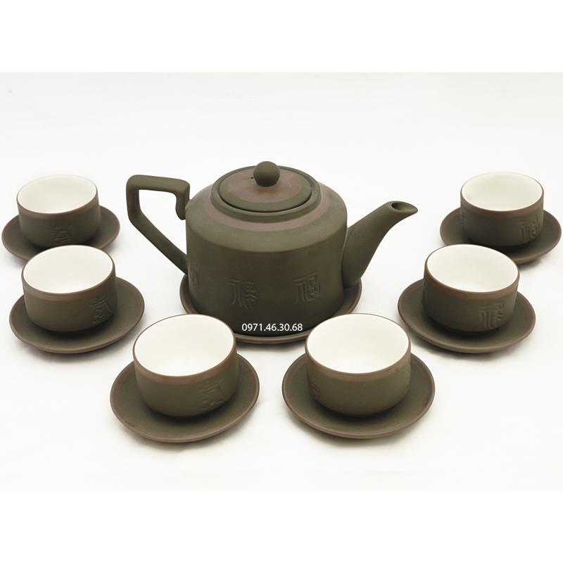 Bộ trà tích phúc lộc thọ xanh chỉ và phụ kiện