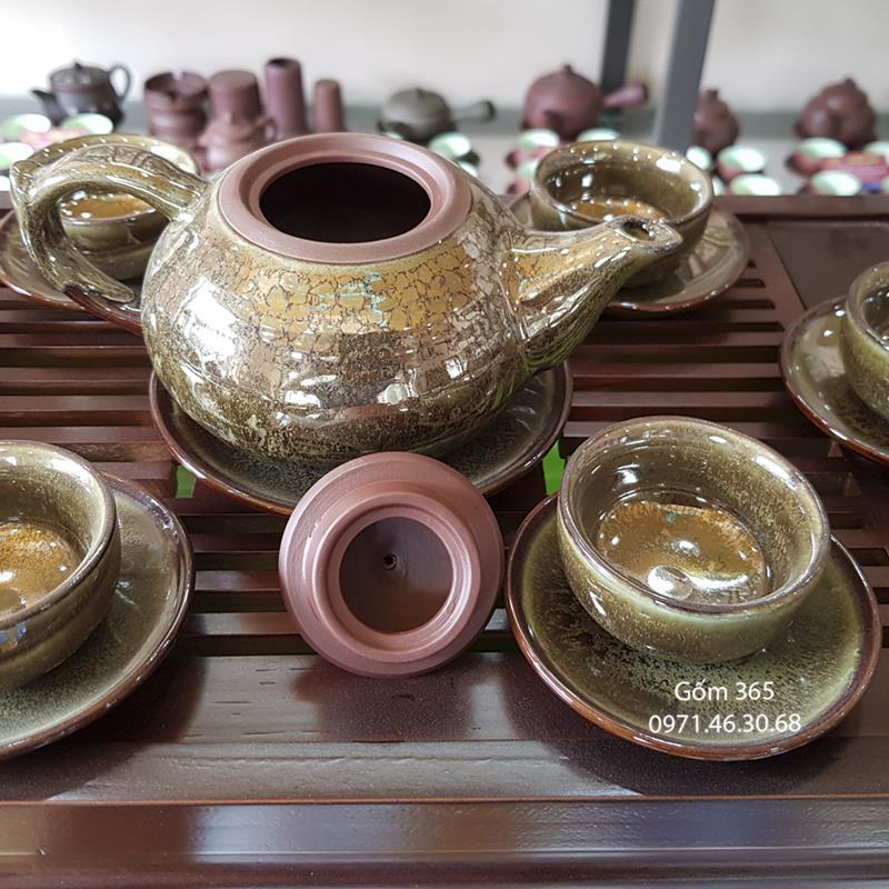 Bộ trà tử sa Bát Tràng dáng búp sen men hỏa biến ngọc lục bảo