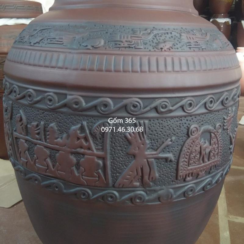Chum sành ngâm rượu Bát Tràng khắc trống đồng không tráng men 30 lít