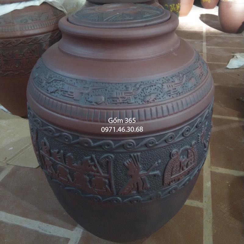 Chum sành ngâm rượu Bát Tràng khắc trống đồng không tráng men 50 lít
