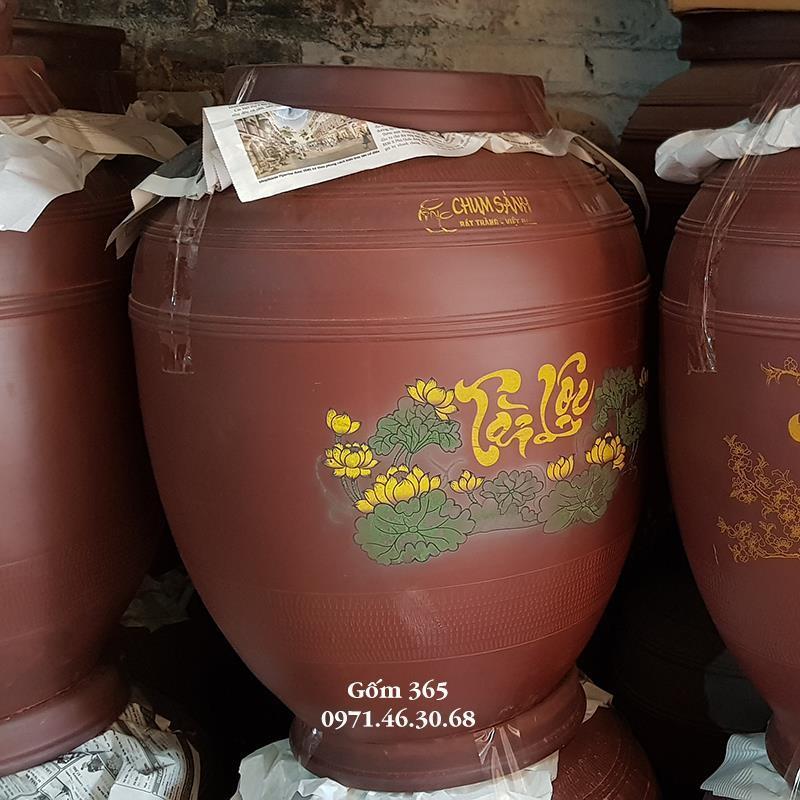 Chum sành ngâm rượu Bát Tràng tài lộc không tráng men 100 lít