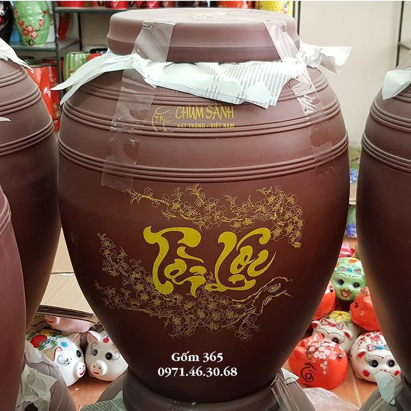 Chum sành ngâm rượu Bát Tràng tài lộc không tráng men 70 lít