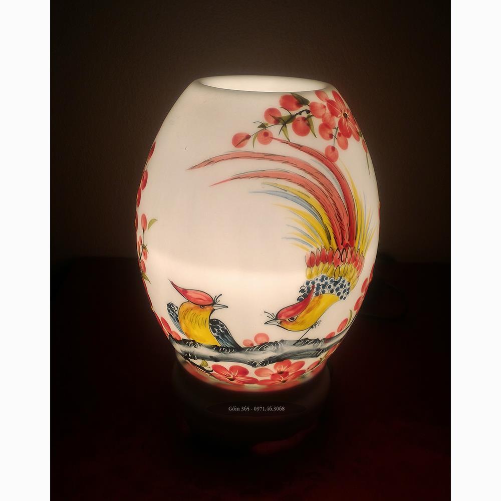 Đèn sứ thấu quang Bát Tràng vẽ chim và hoa