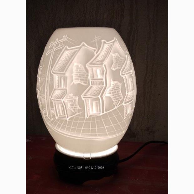Đèn xông tinh dầu Bát Tràng khắc phố cổ Hà Nội