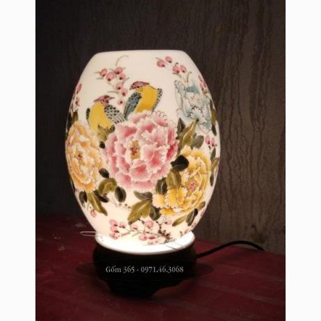 Đèn xông tinh dầu Bát Tràng vẽ chim và hoa