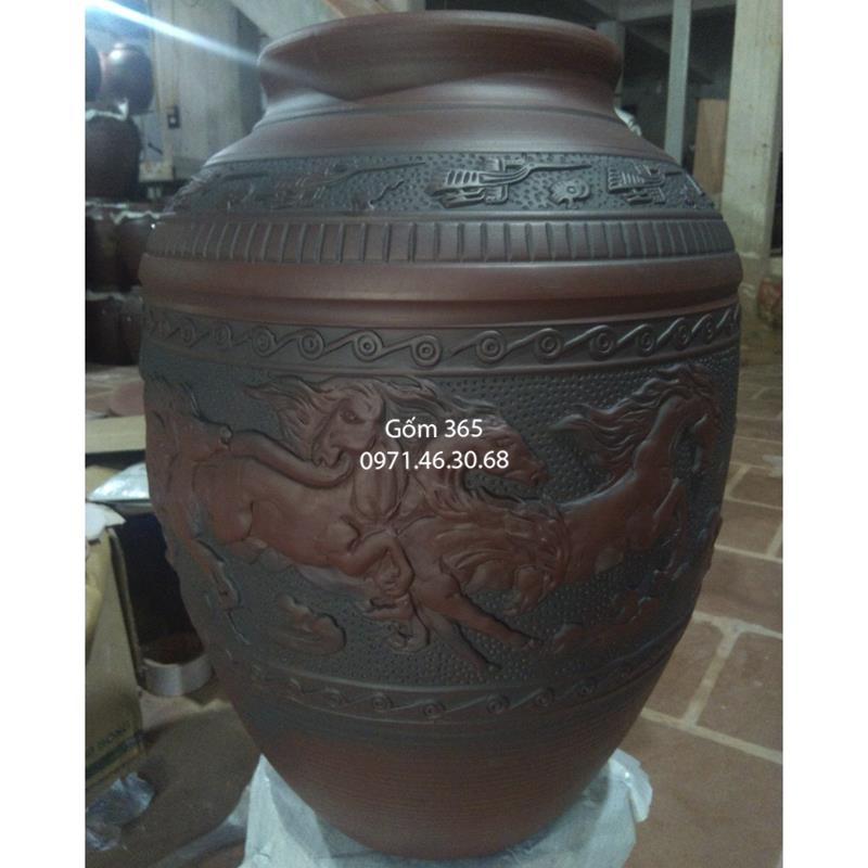 Hũ sành đựng gạo Bát Tràng khắc bát mã 40kg