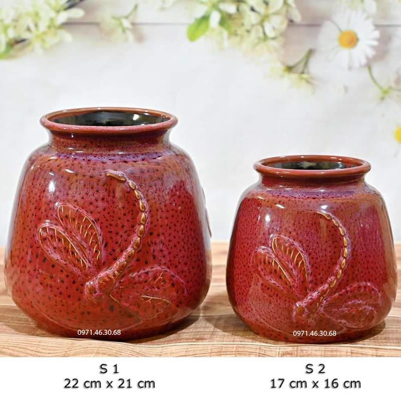 Lọ hoa giỏ cua men hỏa biến đỏ đắp nổi chuồn chuồn