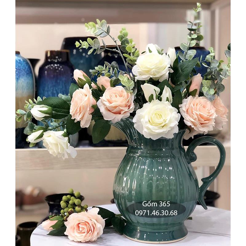 Lọ hoa men hỏa biến xanh lục dáng bình sữa bé cao 25cm