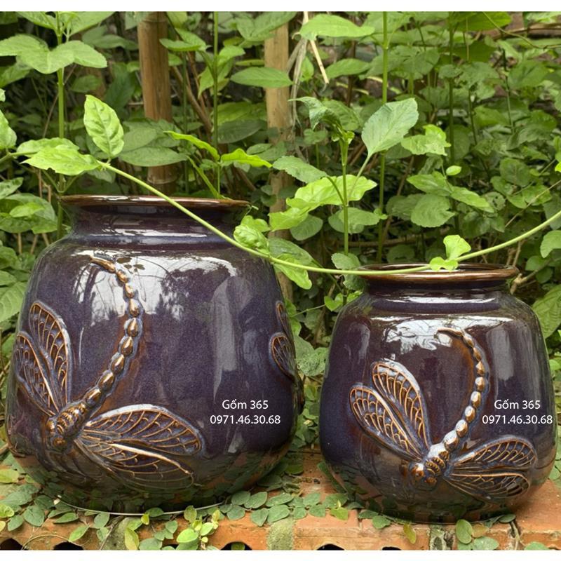 Lọ hoa men hỏa biến xanh tím dáng giỏ cua đắp chuồn chuồn