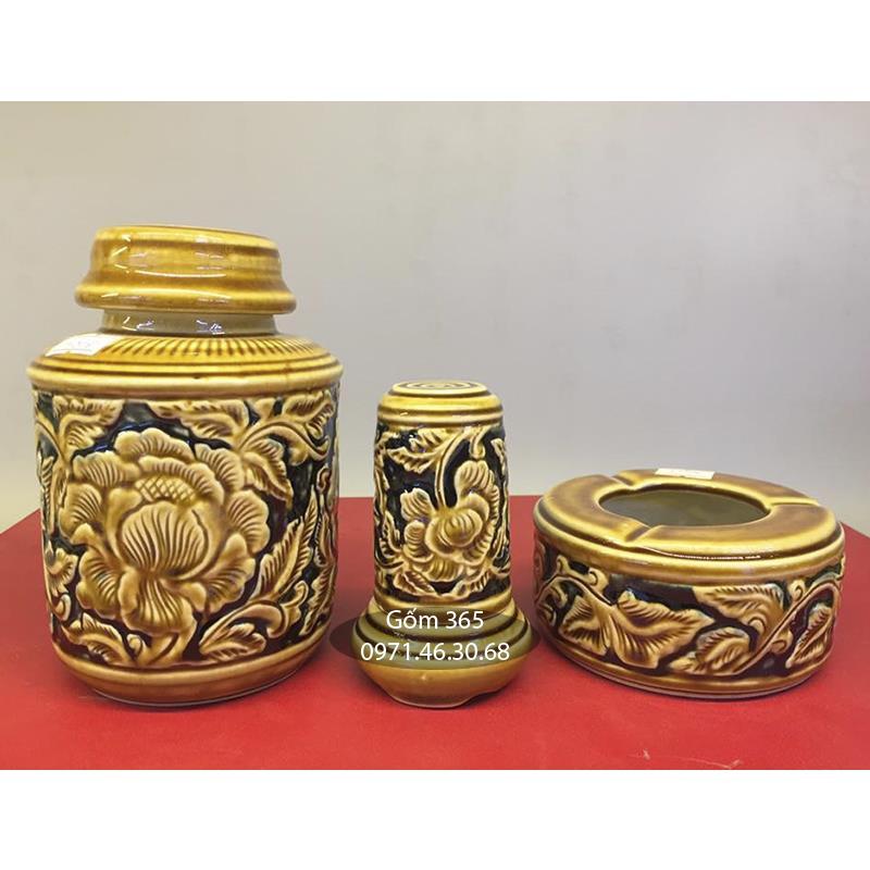 Phụ kiện bộ ấm chén khắc nổi hoa phù dung men vàng