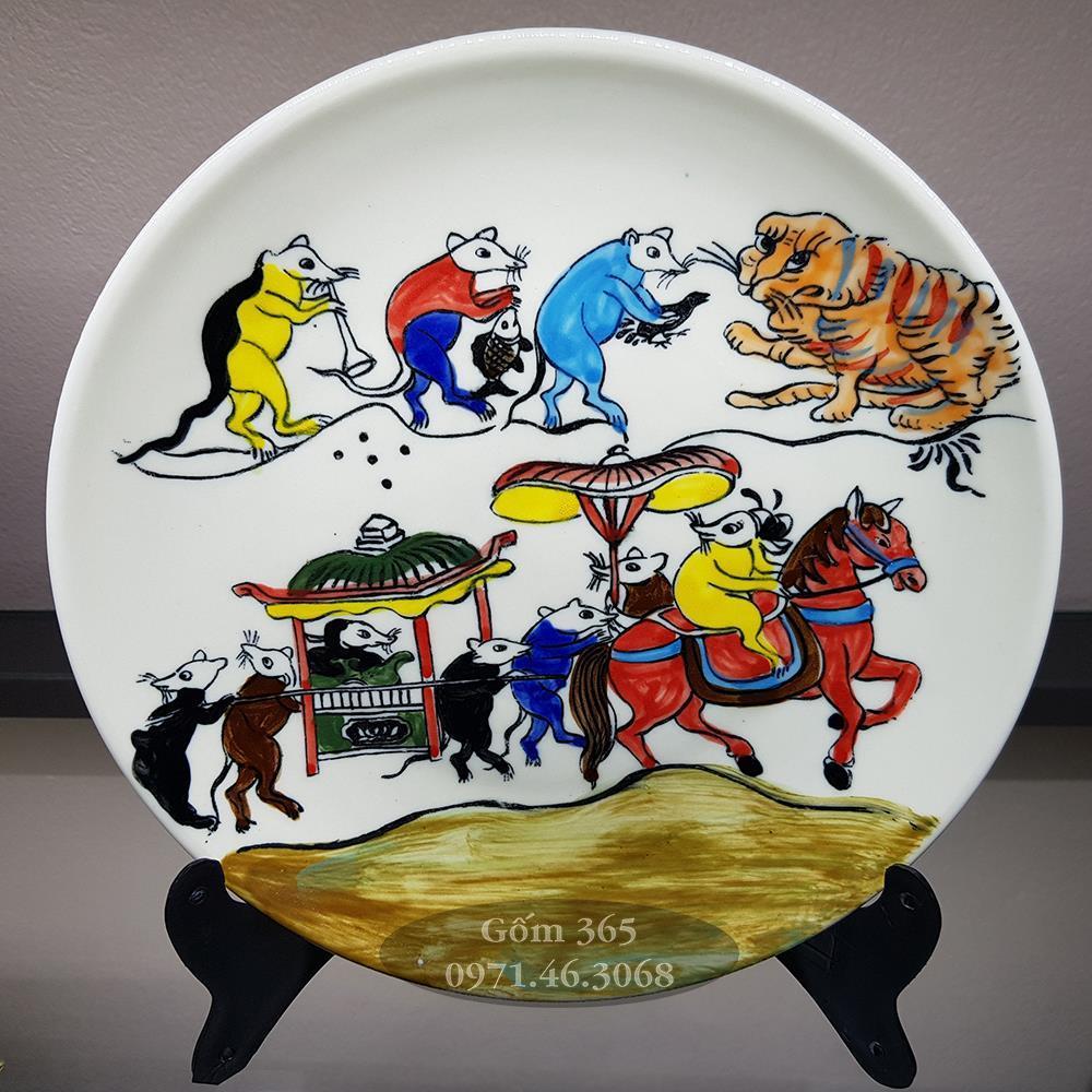 Tranh đĩa Bát Tràng 20cm Đám cưới chuột