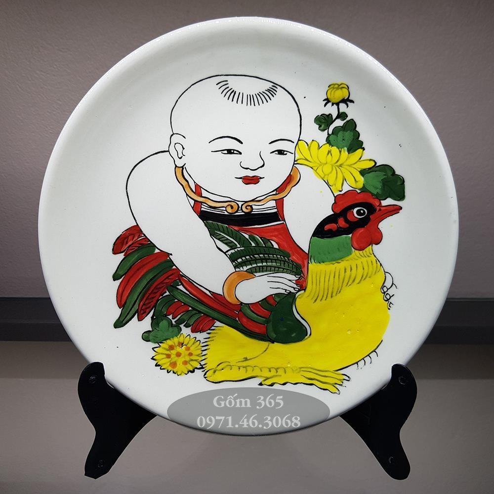 Tranh đĩa Bát Tràng 20cm Vinh Hoa - Em bé ôm gà
