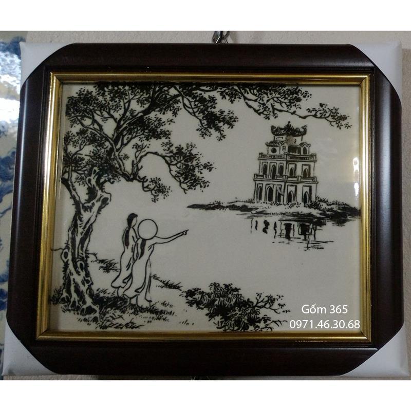 Tranh sứ Bát Tràng - Tranh Hồ Hoàn Kiếm