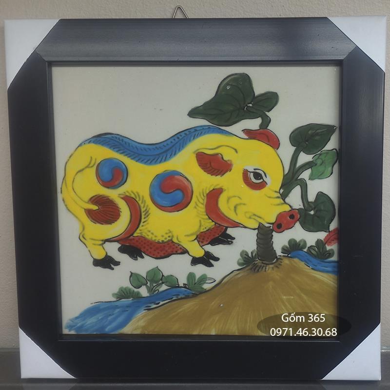 Tranh sứ Bát Tràng - Tranh Lợn ăn cây ráy