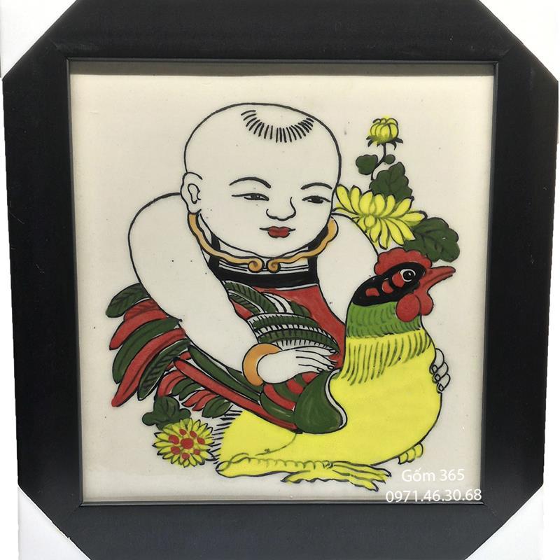 Tranh sứ Bát Tràng - Tranh Vinh Hoa - Em bé ôm gà