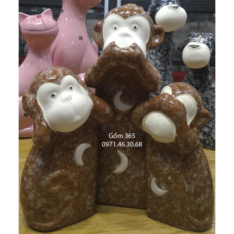 Tượng con giống Bát Tràng - Bộ khỉ ba không giả đá