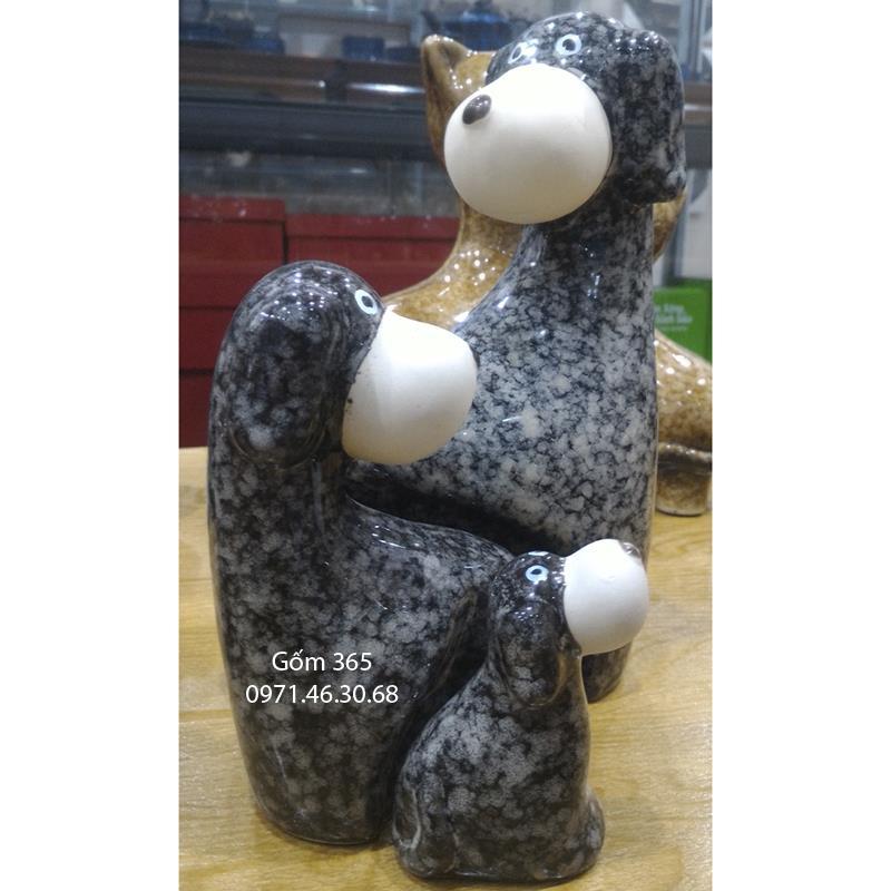 Tượng con giống Bát Tràng - Chó mẫu tử giả đá dáng 01 màu D02