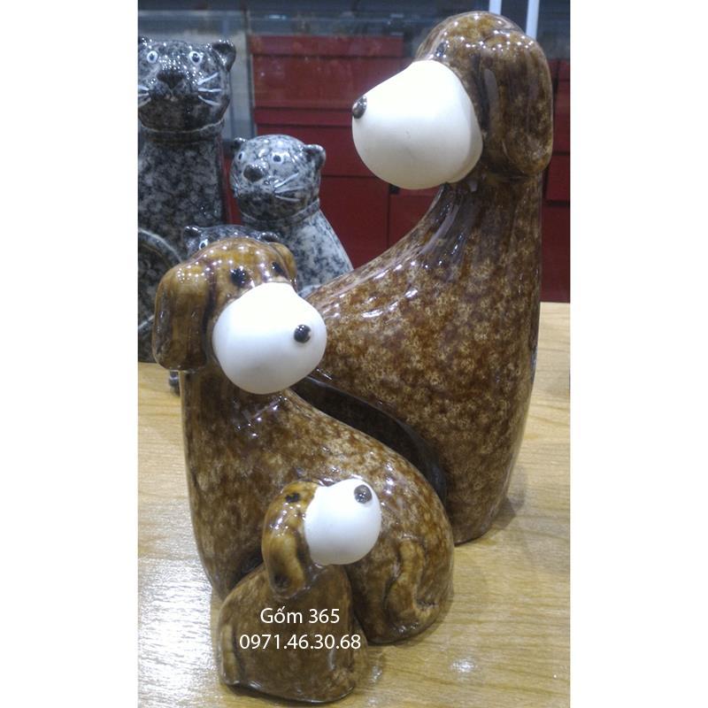 Tượng con giống Bát Tràng - Chó mẫu tử giả đá dáng 01 màu D03