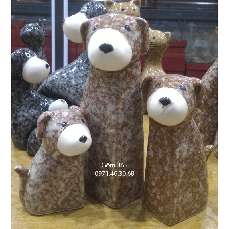 Tượng con giống Bát Tràng - Chó mẫu tử giả đá dáng 02 màu D01