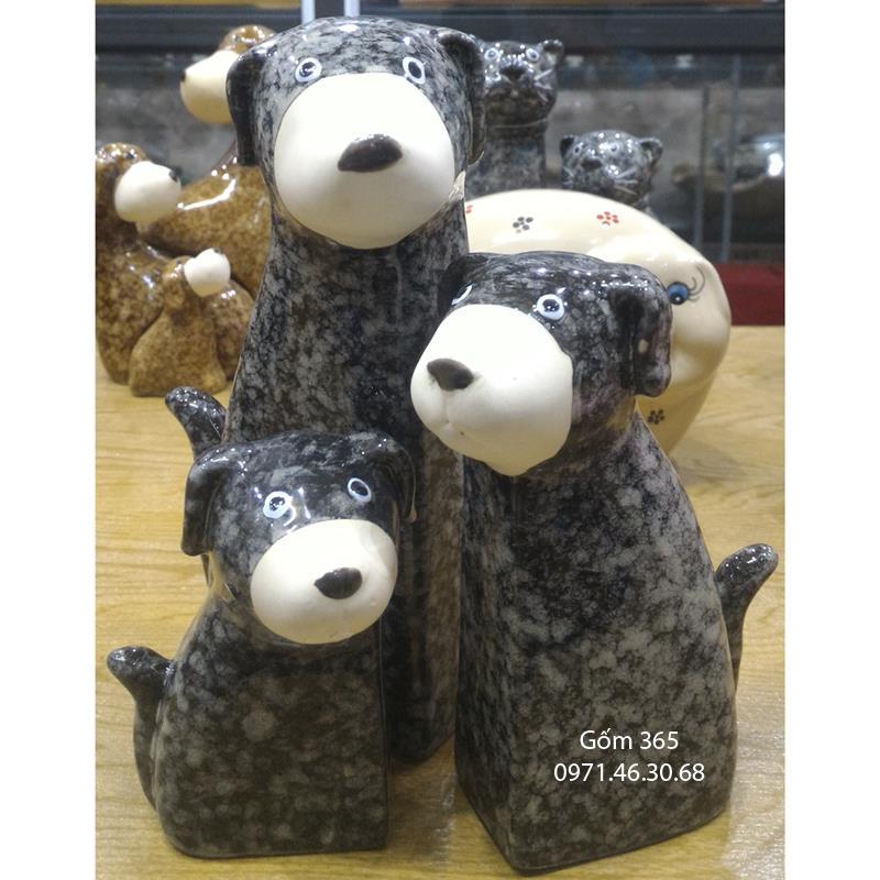 Tượng con giống Bát Tràng - Chó mẫu tử giả đá dáng 02 màu D02