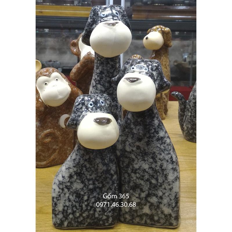Tượng con giống Bát Tràng - Chó mẫu tử giả đá dáng 03 màu D02