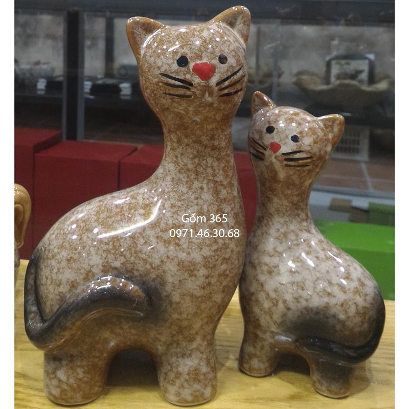 Tượng con giống Bát Tràng - Mèo mẫu tử dáng đứng giả đá D01