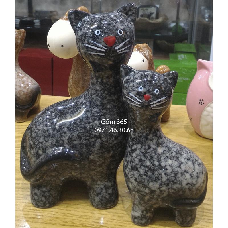 Tượng con giống Bát Tràng - Mèo mẫu tử dáng đứng giả đá D02