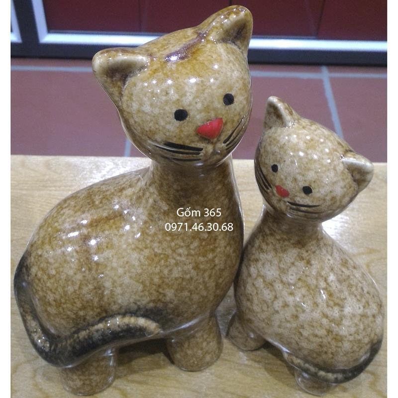 Tượng con giống Bát Tràng - Mèo mẫu tử dáng đứng giả đá D03