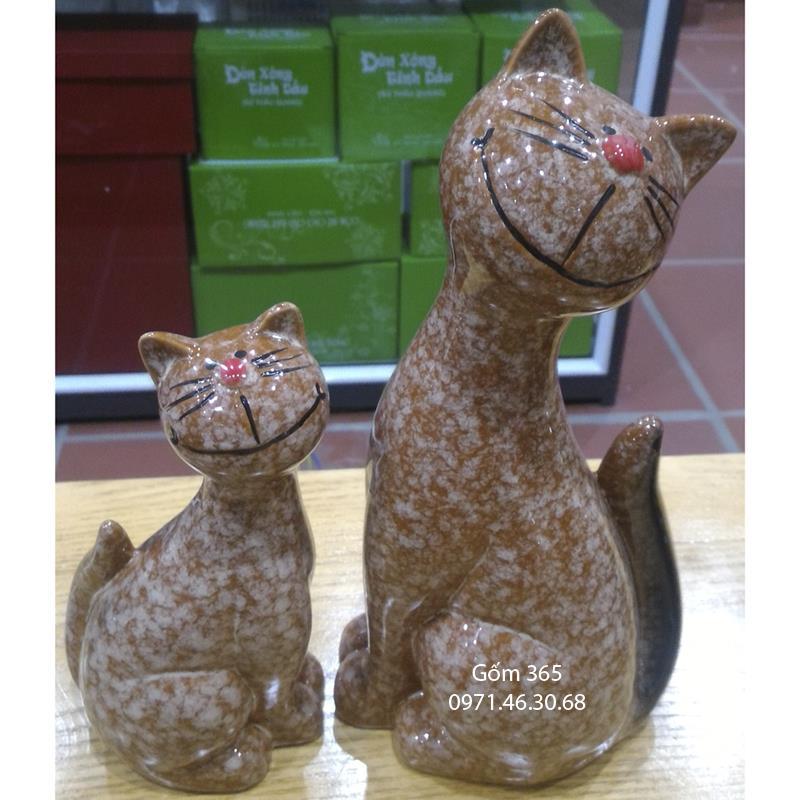 Tượng con giống Bát Tràng - Mèo mẫu tử giả đá D01