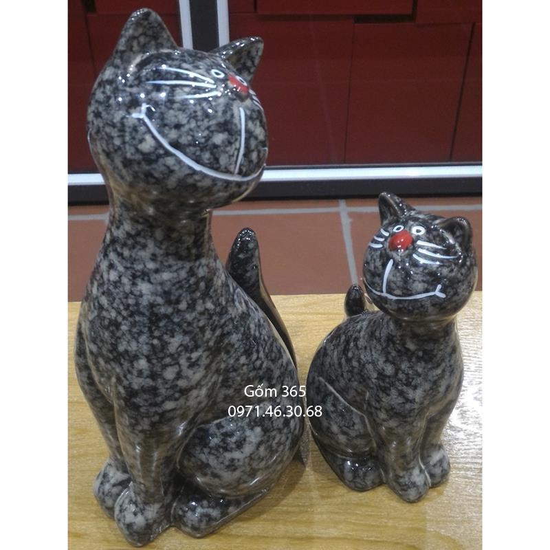 Tượng con giống Bát Tràng - Mèo mẫu tử giả đá D02