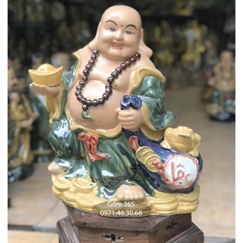 Tượng gốm sứ Bát Tràng - Tượng Phật Di Lặc kéo túi lộc cao 43cm