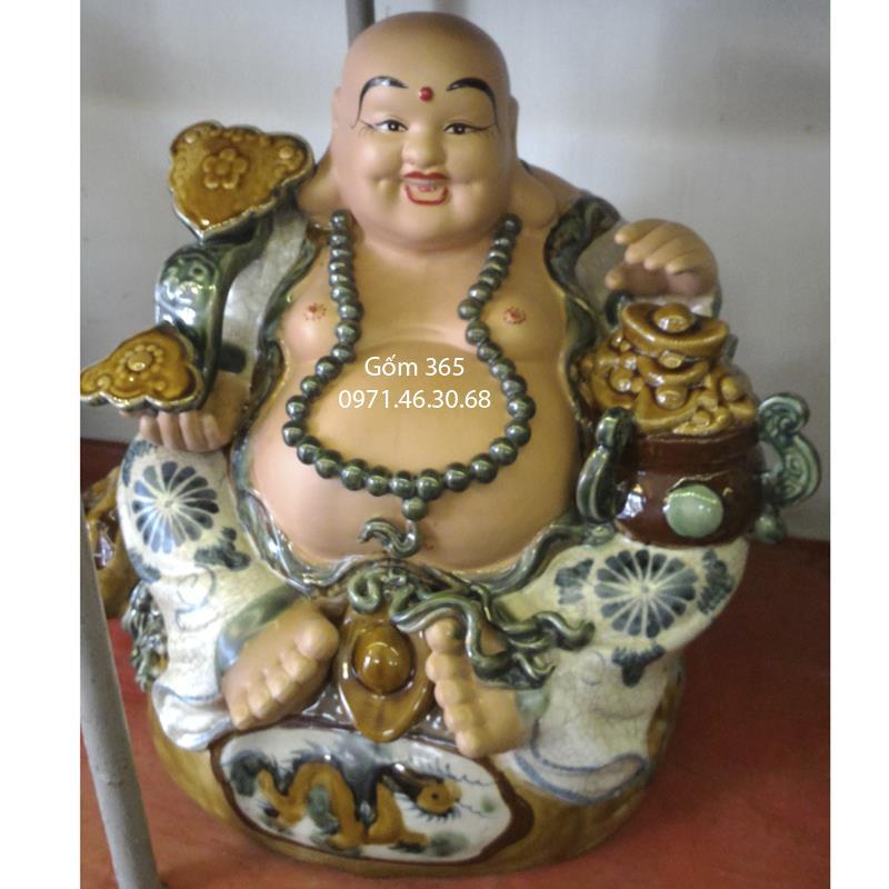 Tượng gốm sứ Bát Tràng - Tượng Phật Di Lặc no đủ men rạn cổ cao 50cm