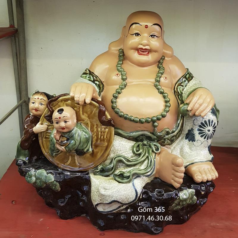 Tượng gốm sứ Bát Tràng - Tượng Phật Di Lặc no đủ ngồi bệ đá men rạn cổ