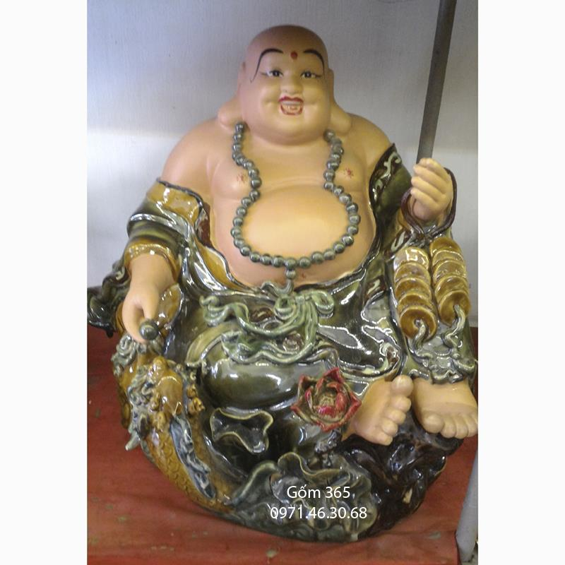 Tượng gốm sứ Bát Tràng - Tượng Phật Di Lặc vinh hoa phú quý men xanh cao 50cm